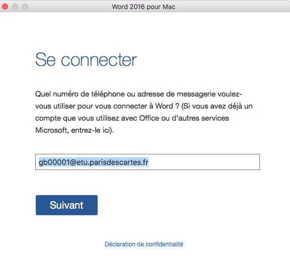Etudiants installer et activer votre pack office 365 proplus pour mac os aide en ligne - Comment installer office sur mac ...
